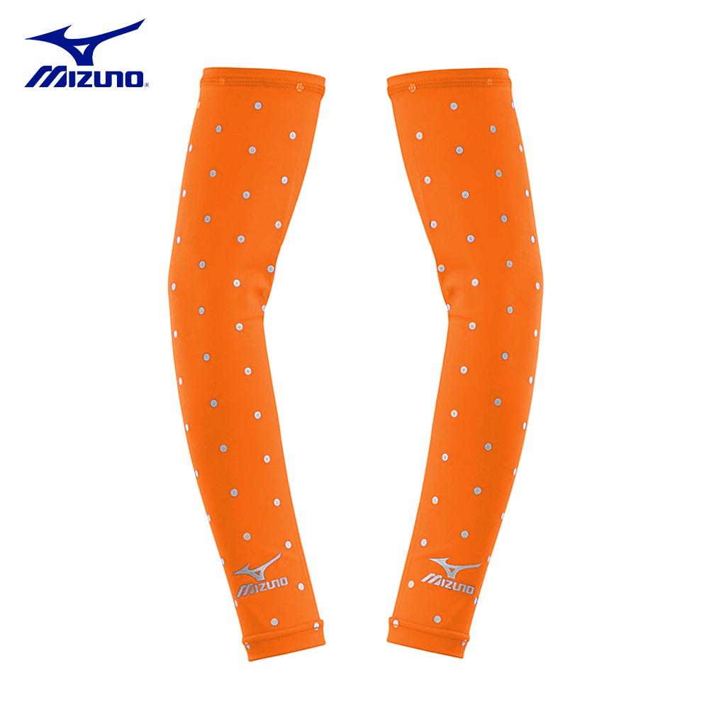 【MIZUNO】美津濃-抗UV小圓點運動袖套-橘
