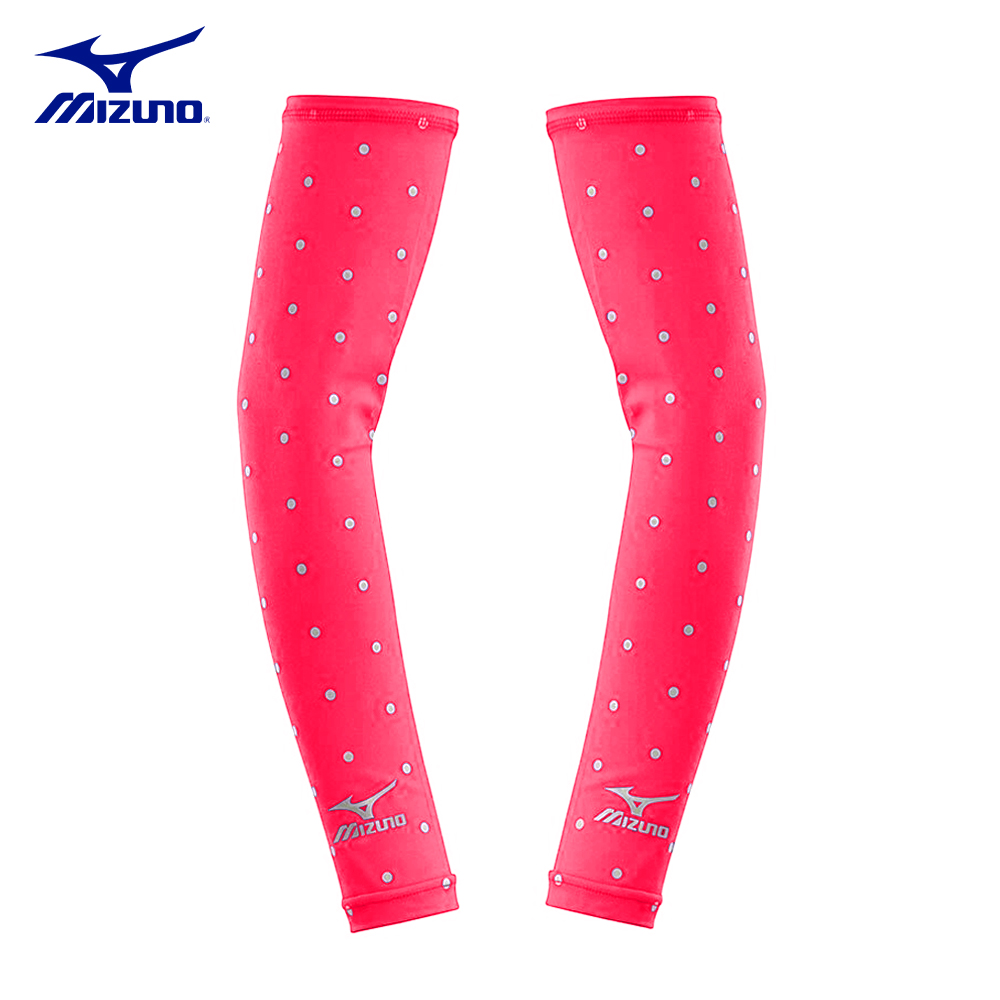 【MIZUNO】美津濃-抗UV小圓點運動袖套-粉