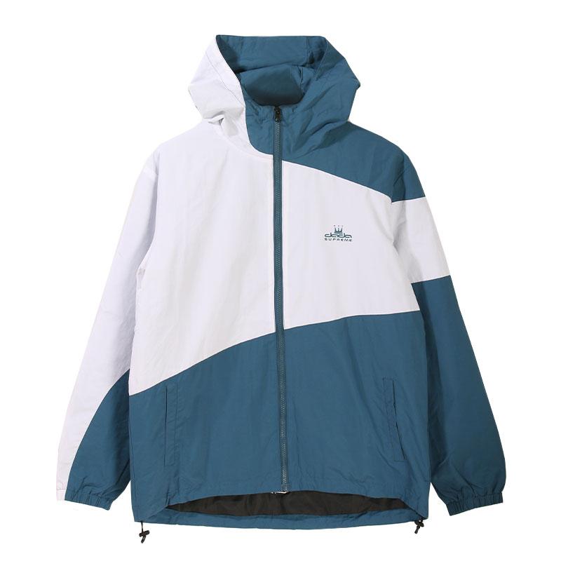 【DADA】男子拼接連帽防風外套-藍綠