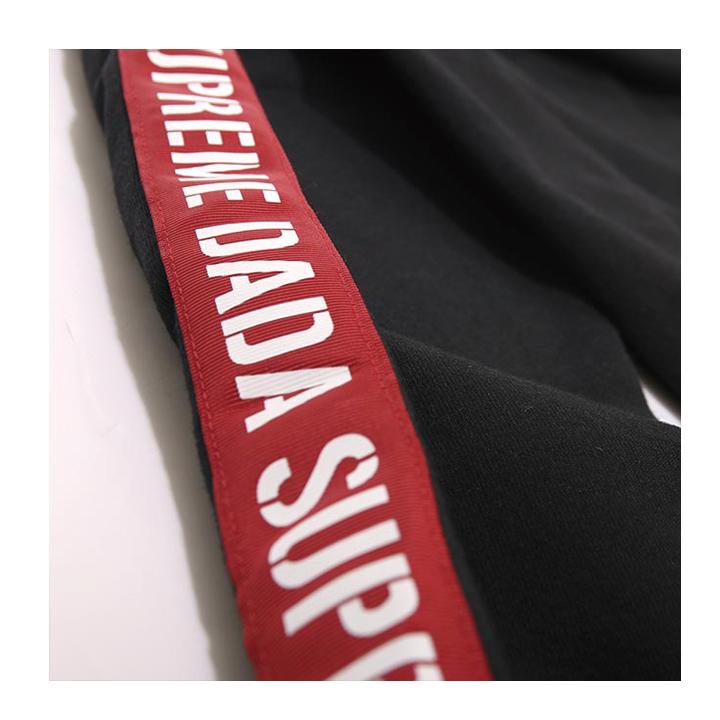 【DADA】男子字母串標連帽長T-經典黑