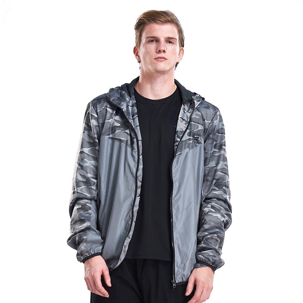 【ZEPRO】男子反光拼接迷彩防風薄外套-銀灰