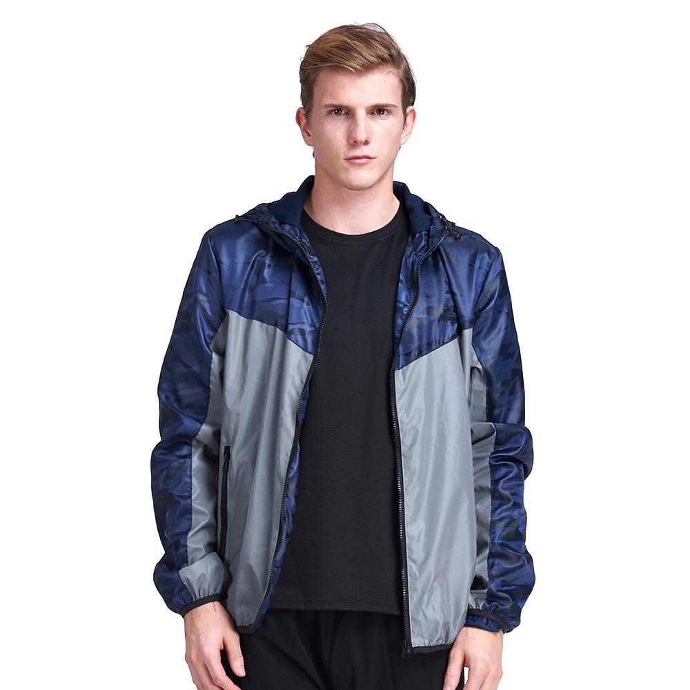 【ZEPRO】男子反光拼接迷彩防風薄外套-銀藍