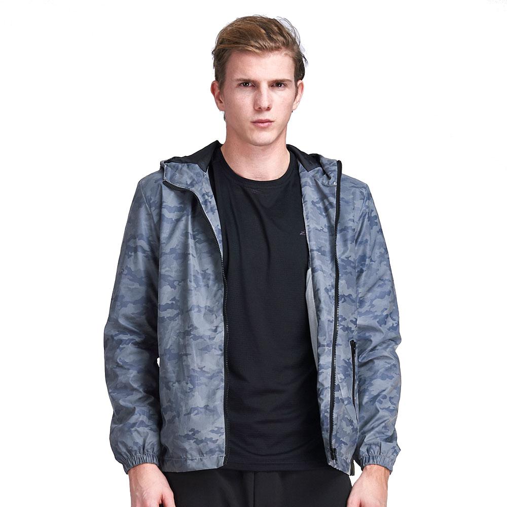 【ZEPRO】男子迷彩全反光防風外套-深藍