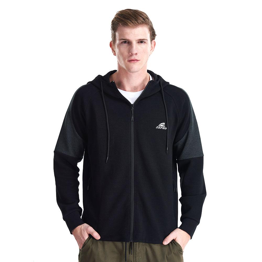 【ZEPRO】男子雙色拼接休閒外套-黑灰