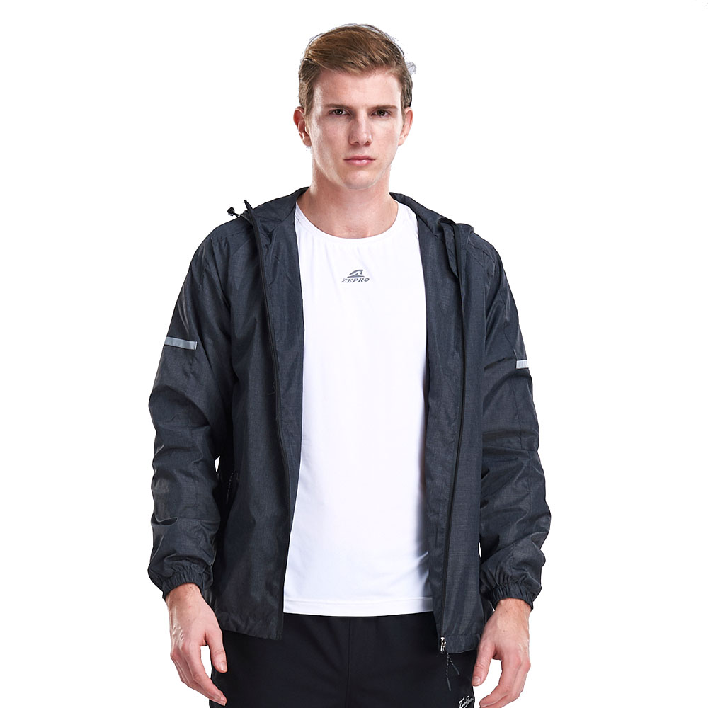 【ZEPRO】男子反光素面刷毛防風外套-黑