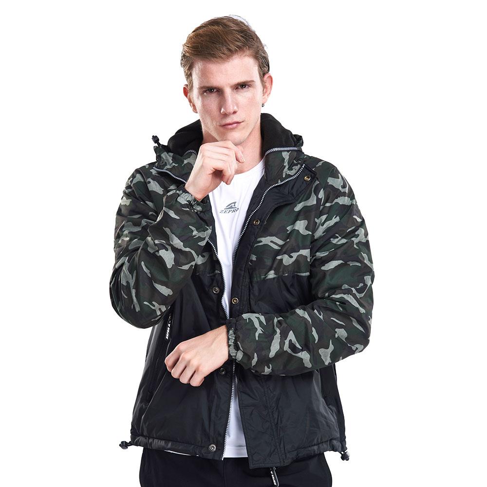 【ZEPRO】男子軍事主義迷彩拼接鋪棉外套-迷彩綠