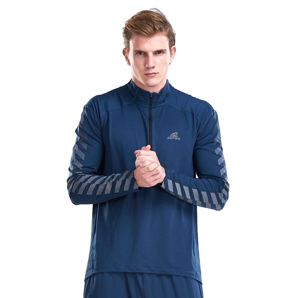 【ZEPRO】男子立領拉鏈斜邊反光運動長袖上衣-藍