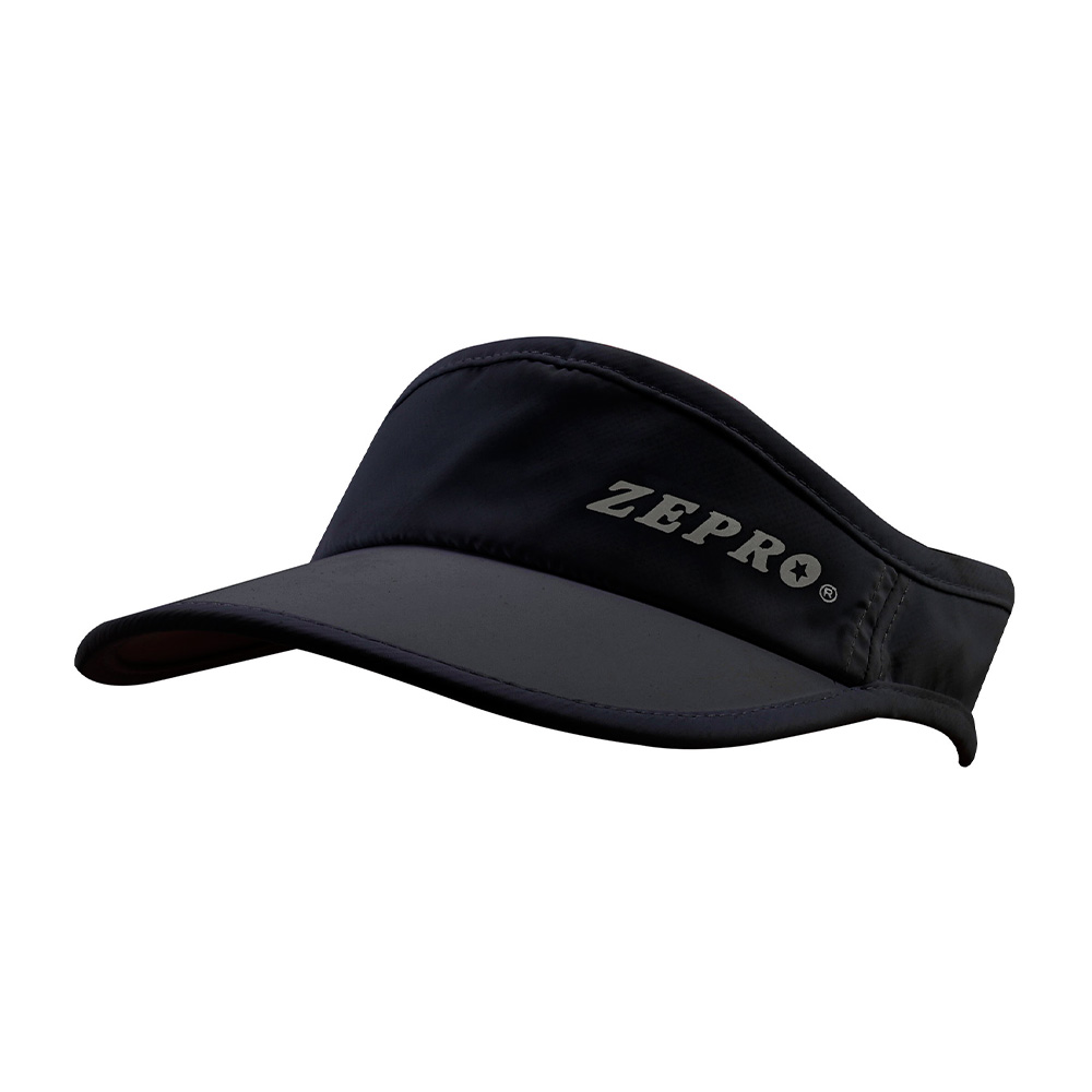 【ZEPRO】魔鬼氈慢跑中空Velcro遮陽帽-黑