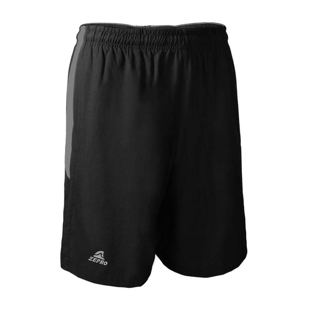 【ZEPRO】男子撞色剪裁排汗運動短褲-黑灰