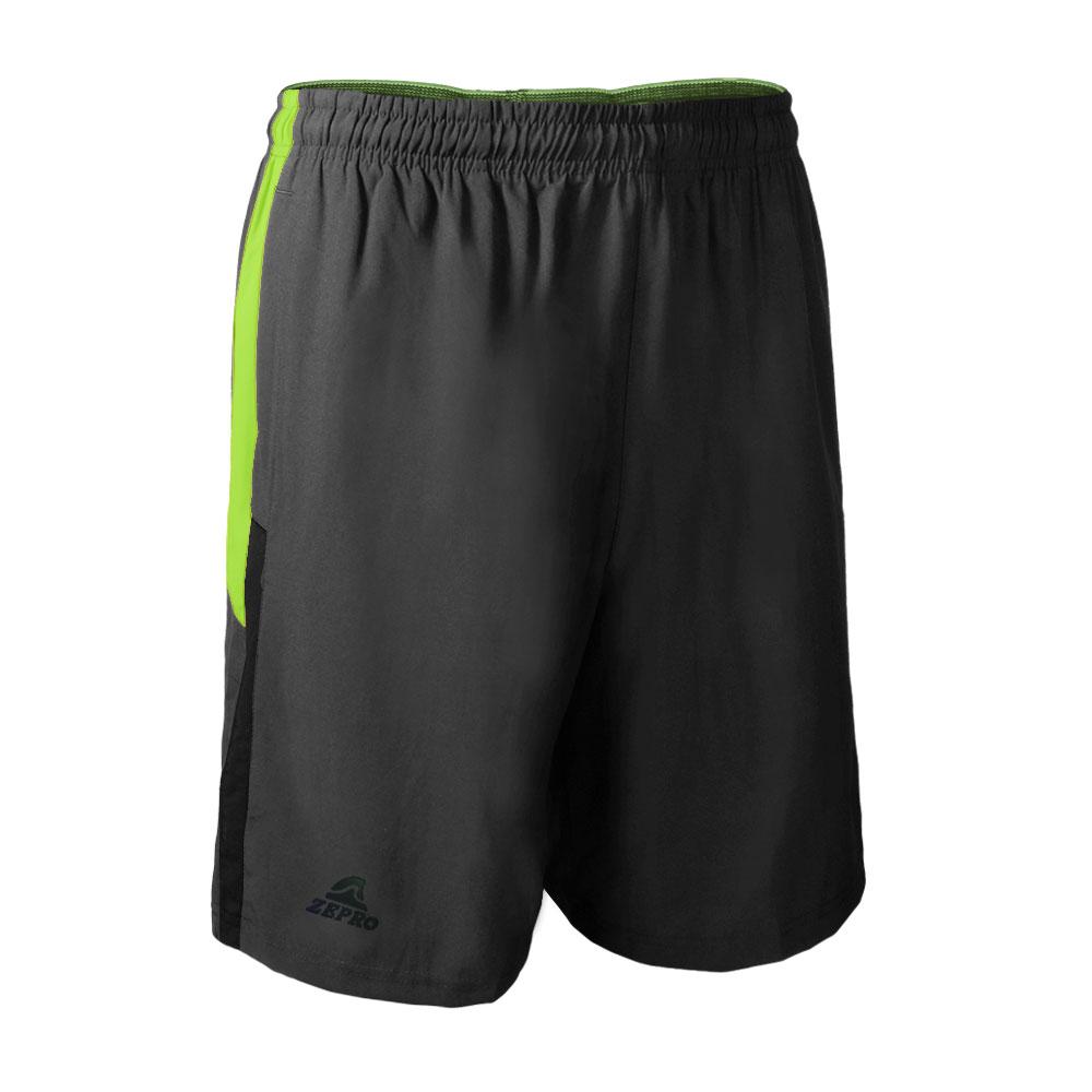 【ZEPRO】男子撞色剪裁排汗運動短褲-鐵灰/螢光綠