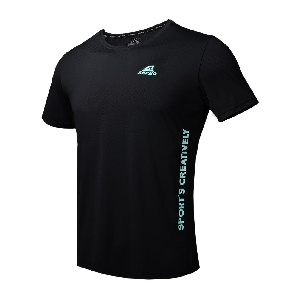 【ZEPRO】男子運動世代圓領運動短袖上衣-黑