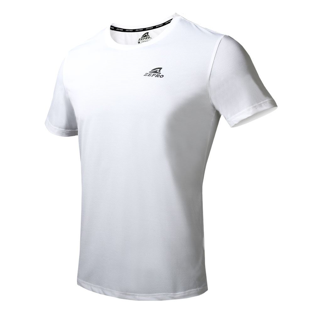 【ZEPRO】男子簡約LOGO圓領運動短袖上衣-白