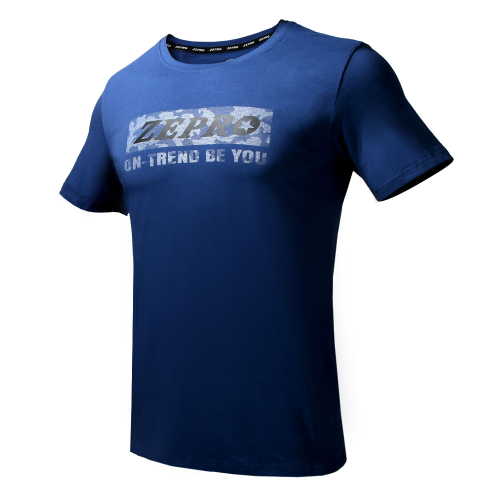 【ZEPRO】男子酷玩圓領休閒短袖上衣-深藍
