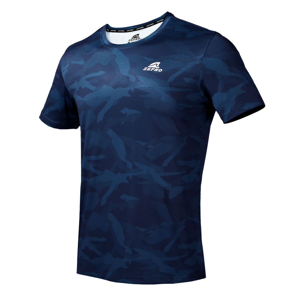【ZEPRO】男子野戰迷彩運動短袖上衣-深藍