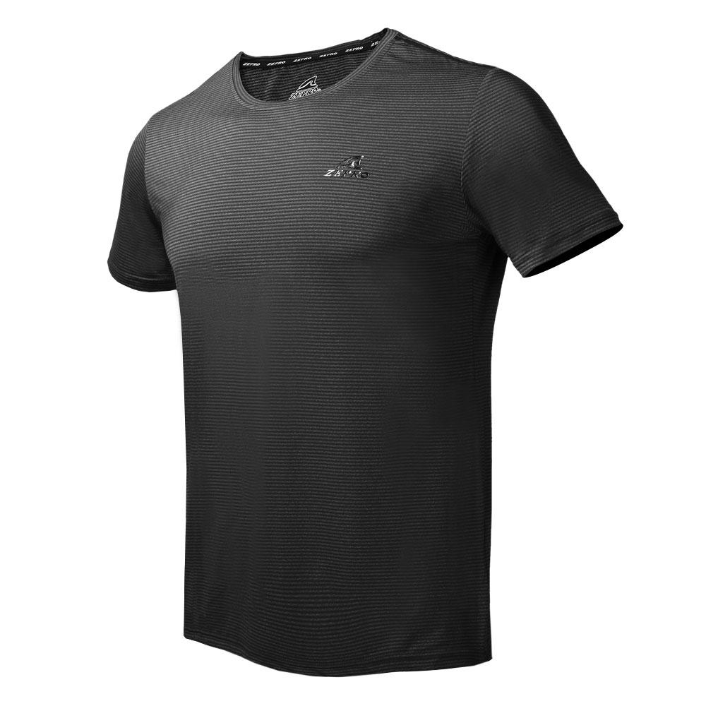 【ZEPRO】男子橫壓紋涼感運動短袖上衣-黑