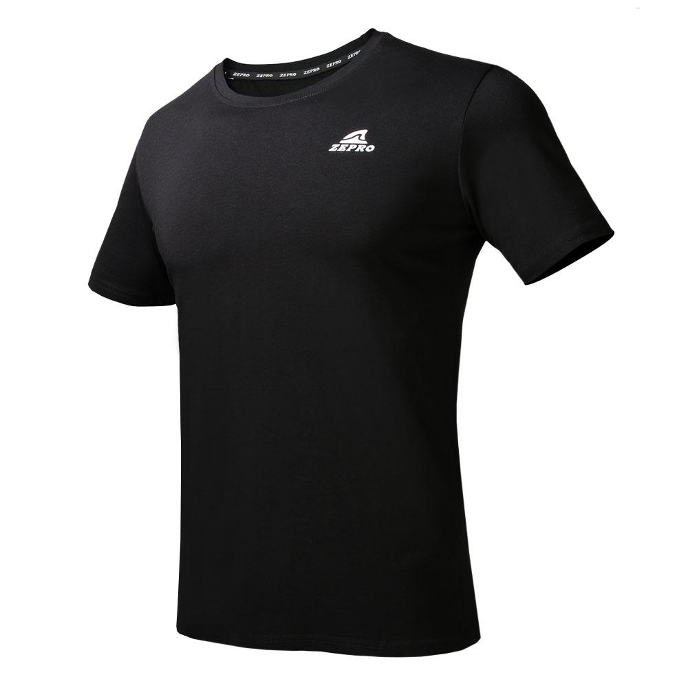 【ZEPRO】男子經典素色運動休閒短袖上衣-黑