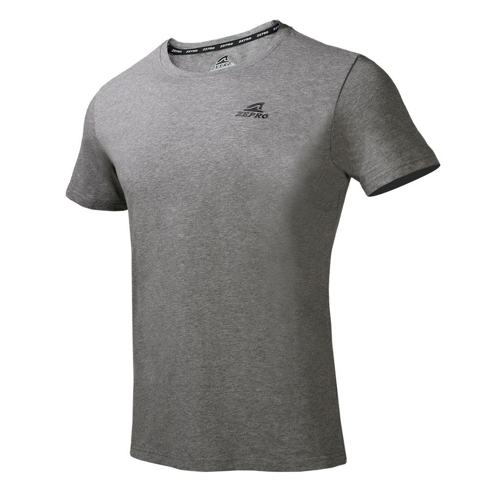 【ZEPRO】男子經典素色運動休閒短袖上衣-淺灰