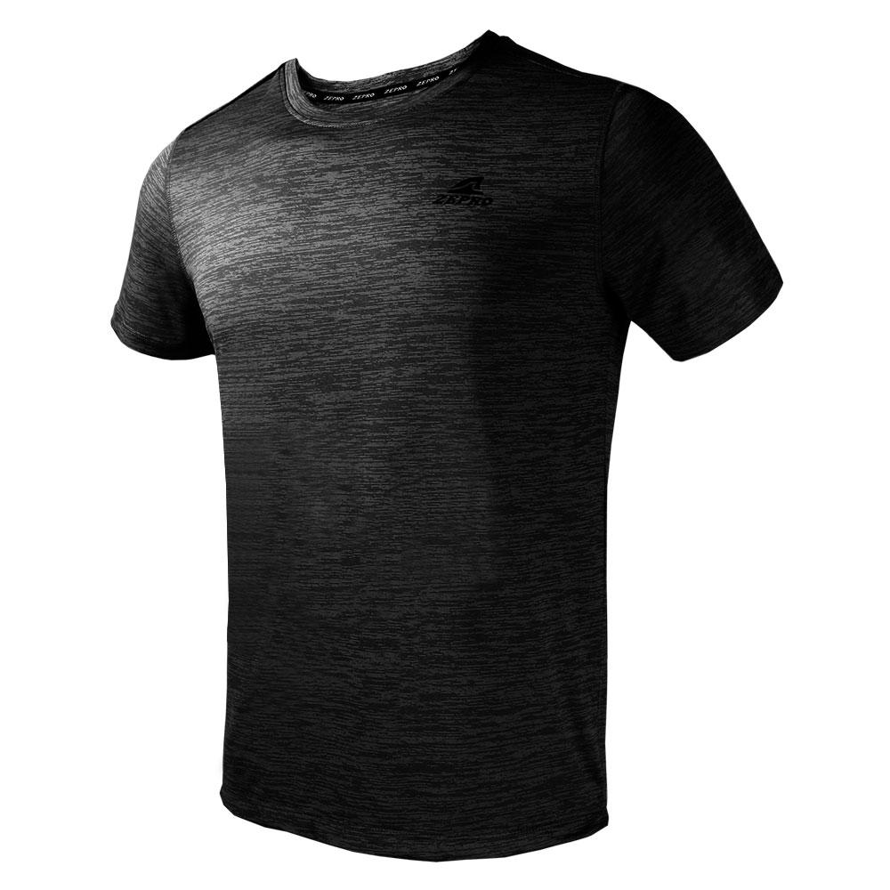 【ZEPRO】男子簡單主張銀離子運動短袖上衣-黑