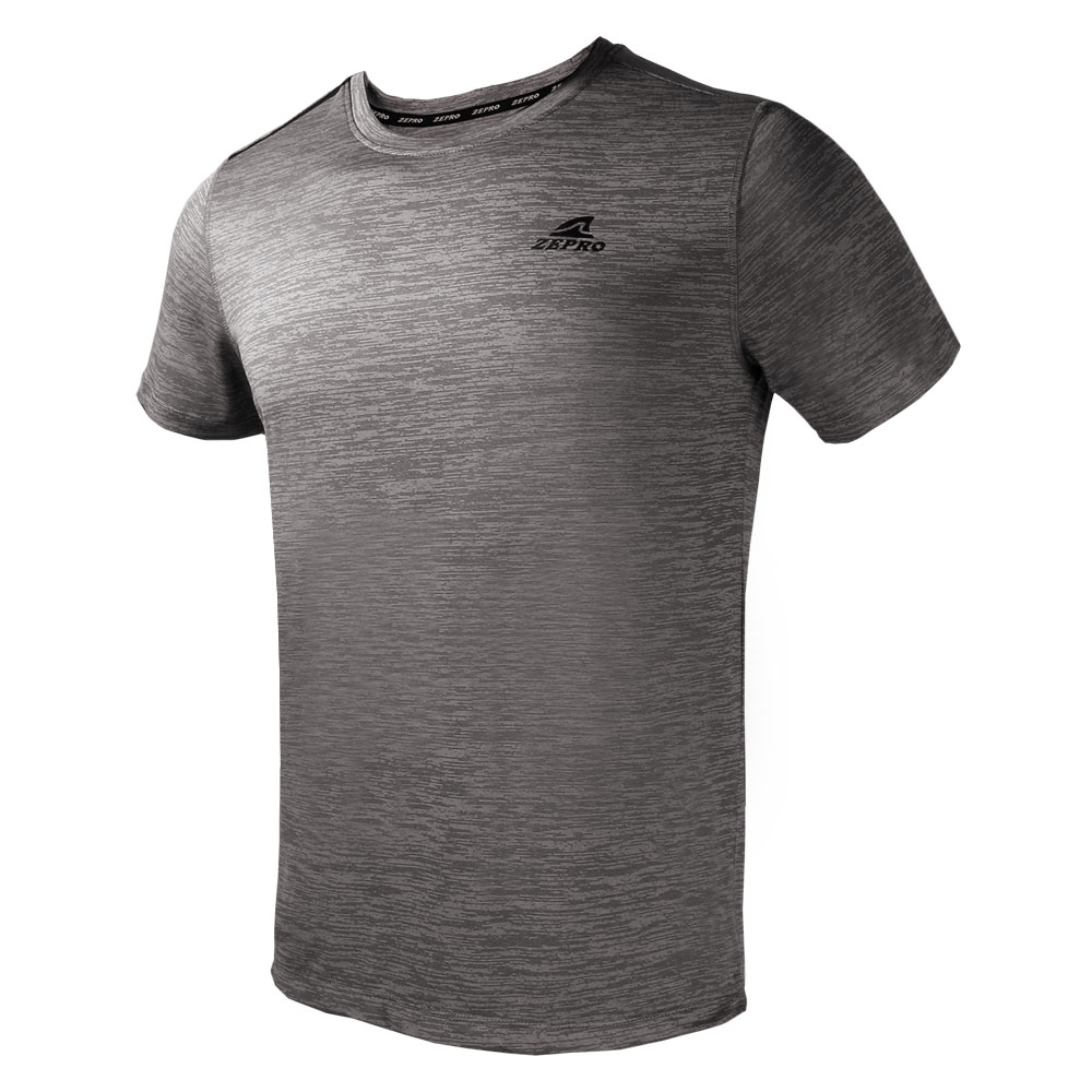 【ZEPRO】男子簡單主張銀離子運動短袖上衣-灰