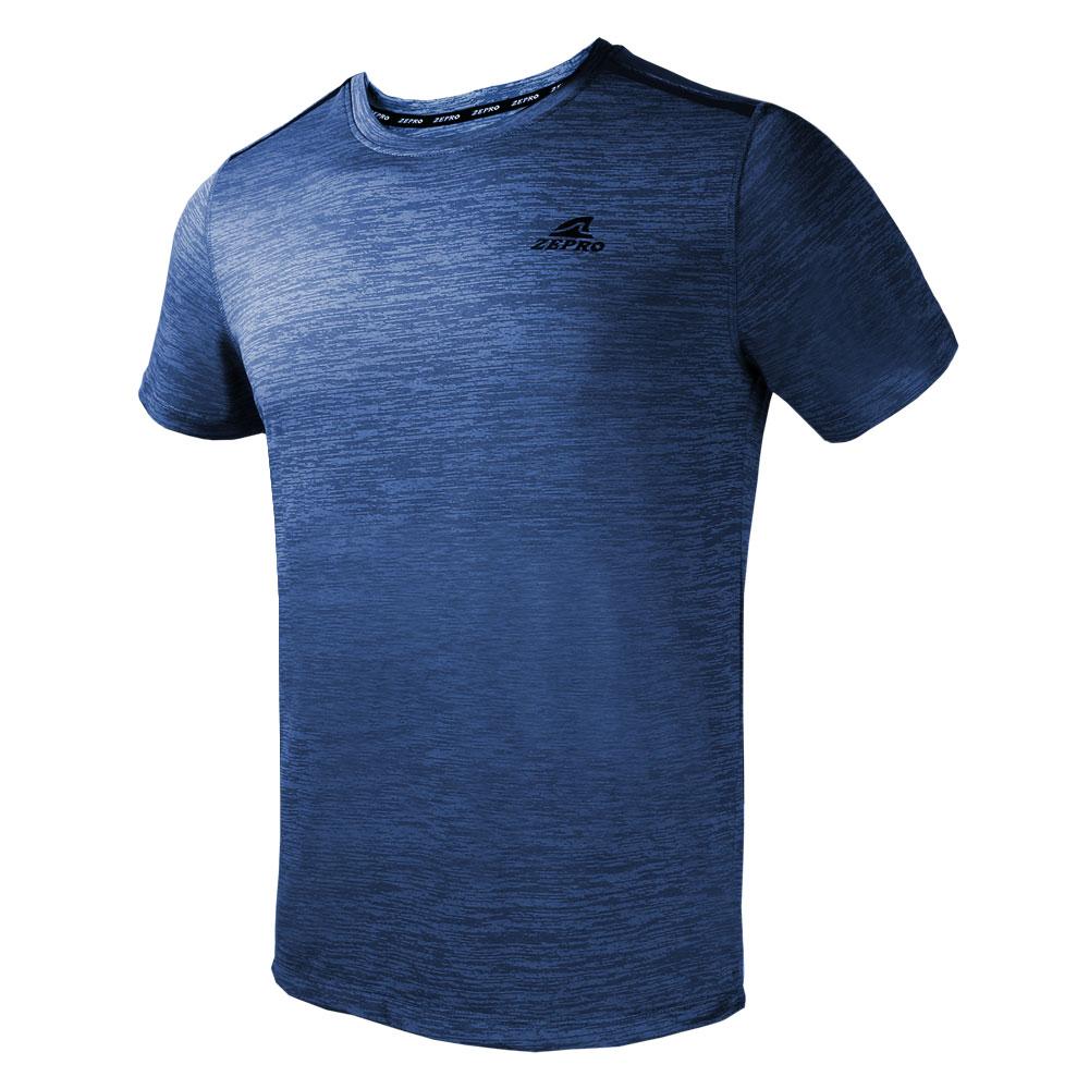【ZEPRO】男子簡單主張銀離子運動短袖上衣-霧灰藍