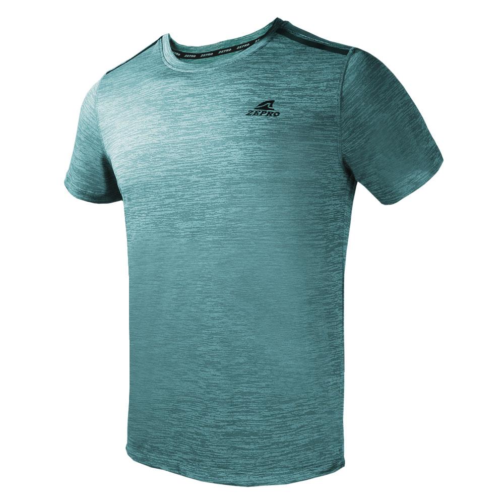 【ZEPRO】男子簡單主張銀離子運動短袖上衣-青石綠