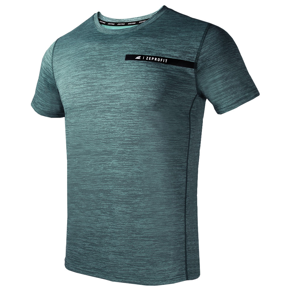 【ZEPRO】男子ZEPROFIT銀離子運動短袖上衣-青石綠
