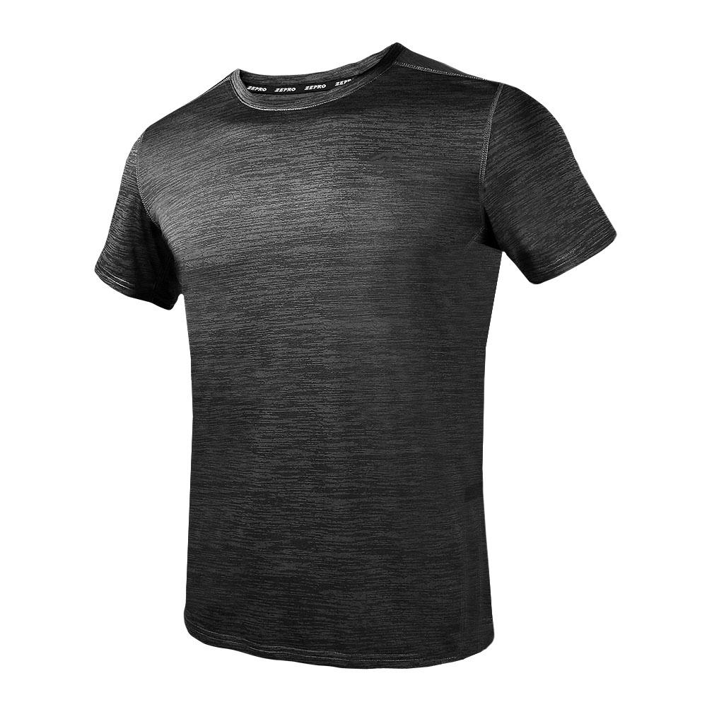 【ZEPRO】男子素面銀離子運動短袖上衣-鐵灰