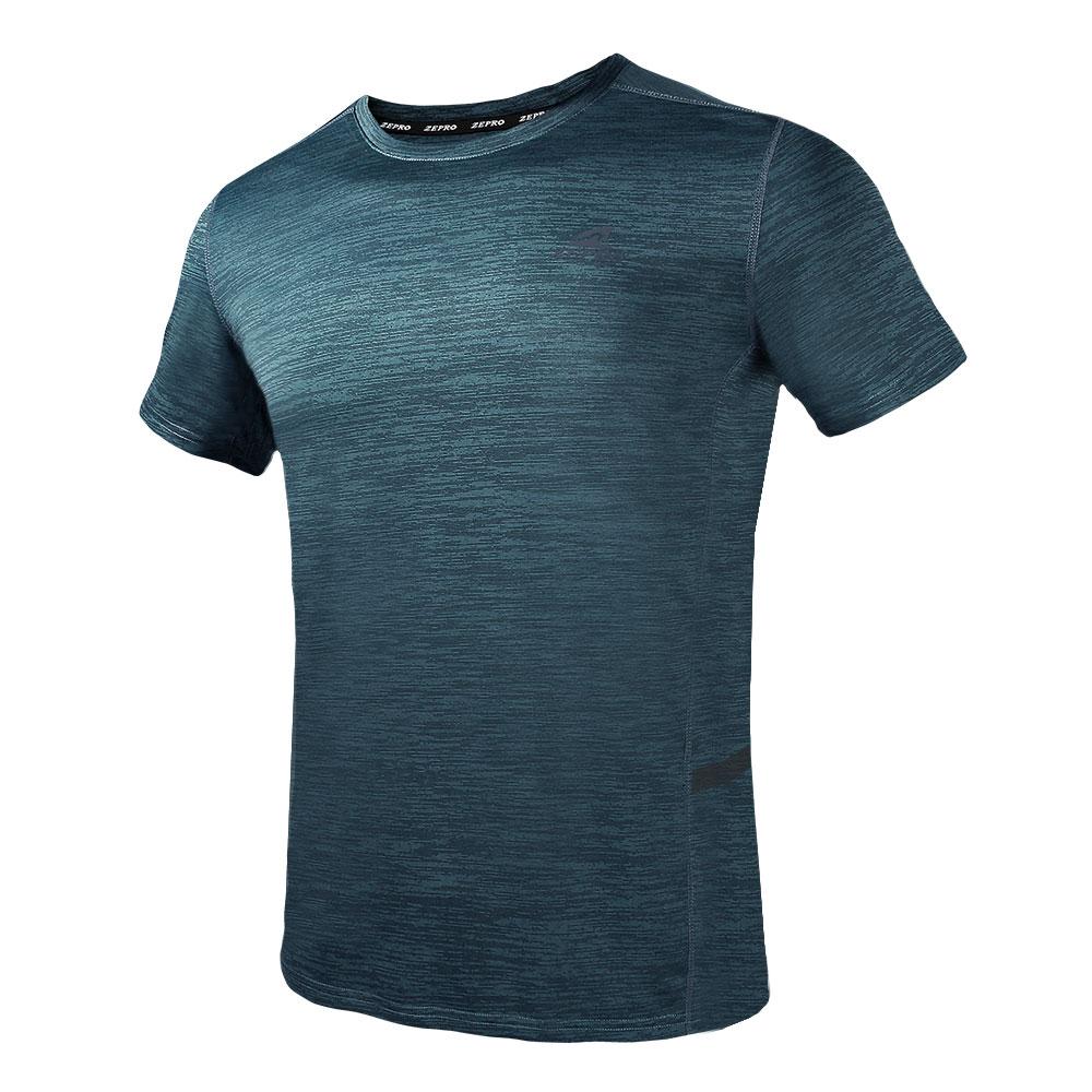 【ZEPRO】男子素面銀離子運動短袖上衣-沉穩綠