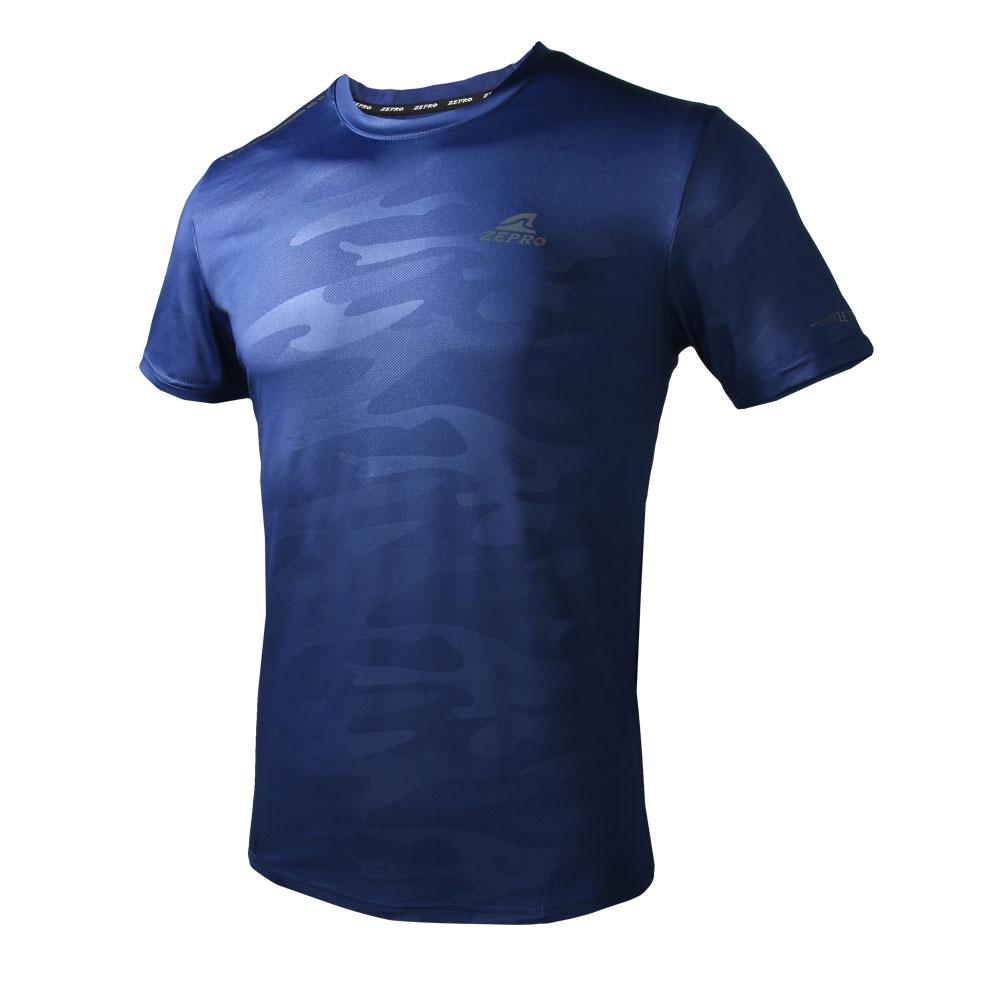 【ZEPRO】男子迷彩運動短袖上衣-深藍