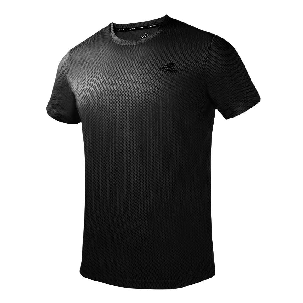【ZEPRO】男子素色網孔運動短袖上衣-黑