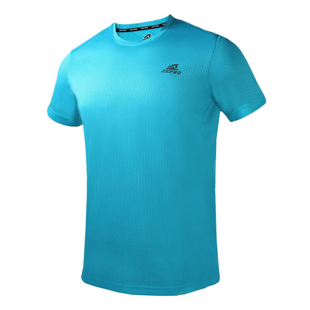 【ZEPRO】男子素色網孔運動短袖上衣-藍綠