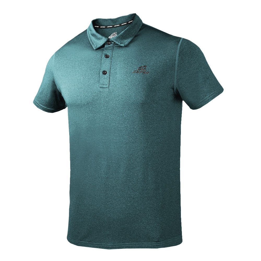 【ZEPRO】男子素面壓紋銀離子運動休閒POLO上衣-藍綠