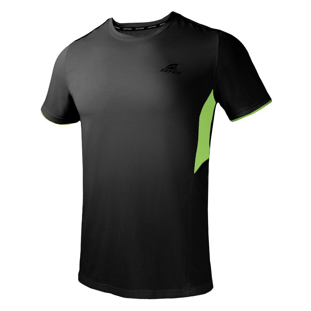 【ZEPRO】男子素面拼接運動短袖上衣-黑色
