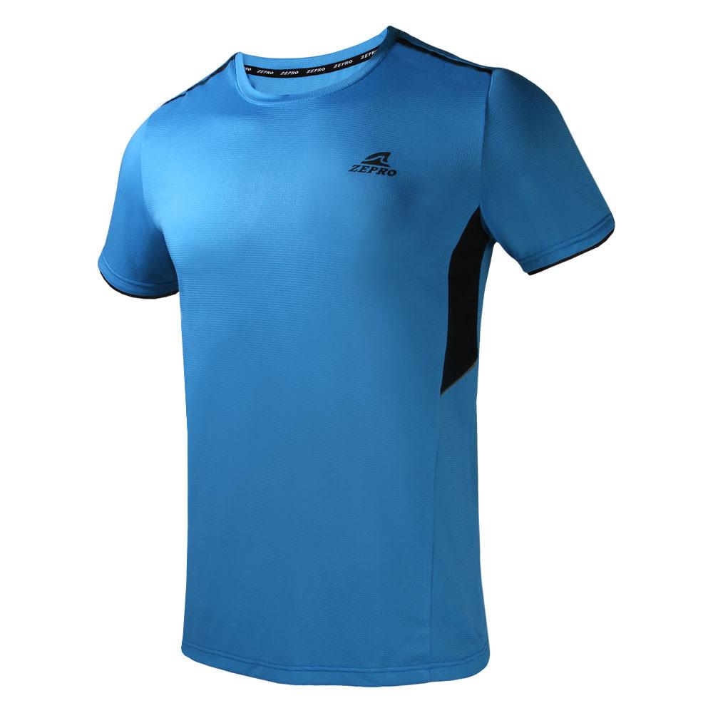 【ZEPRO】男子素面拼接運動短袖上衣-藍色