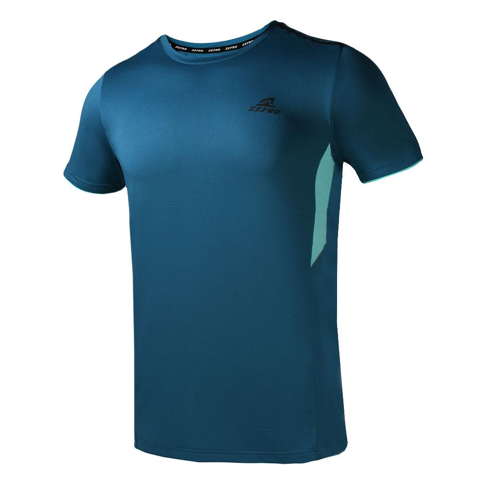 【ZEPRO】男子素面拼接運動短袖上衣-藍綠