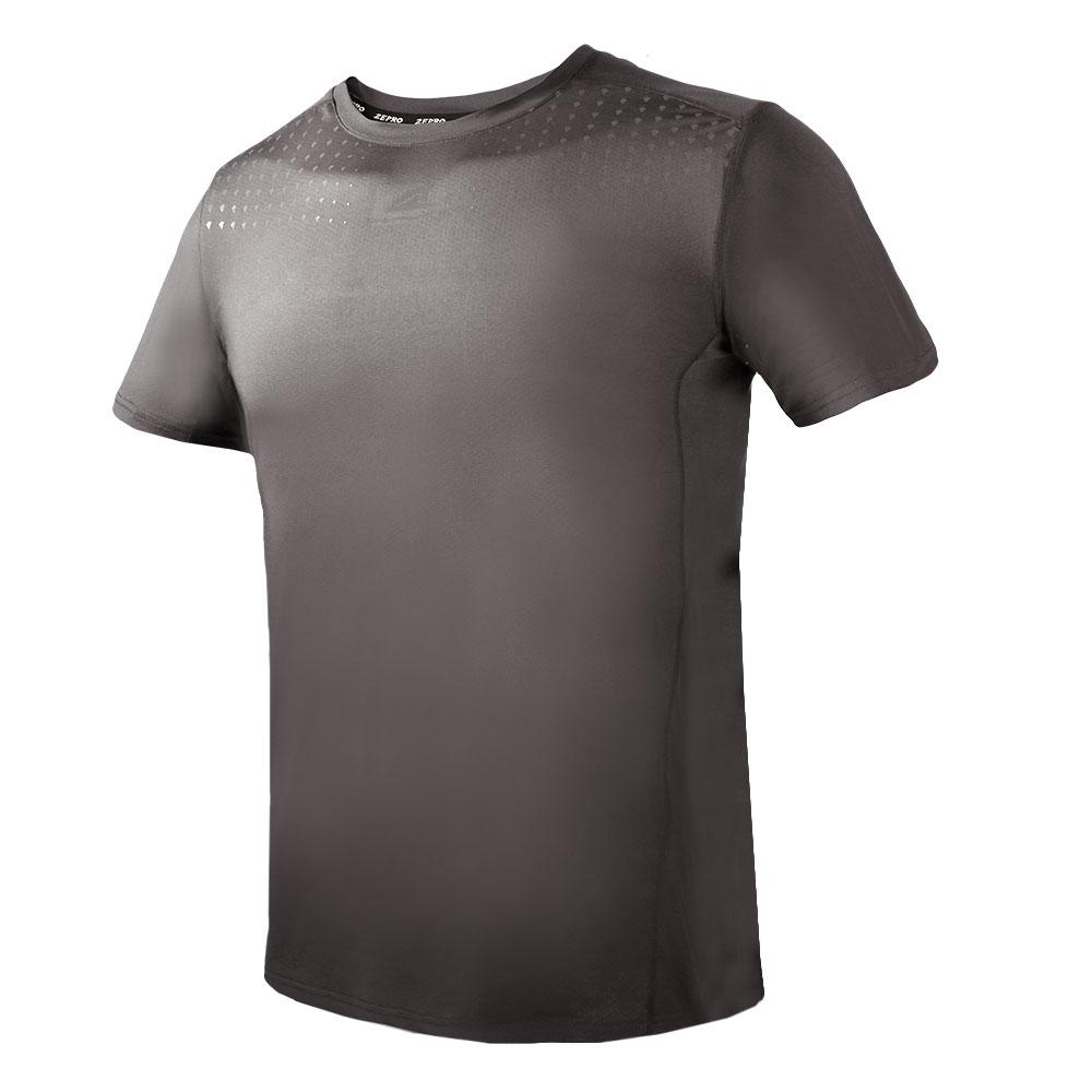 【ZEPRO】男子幾何運動短袖上衣-深灰