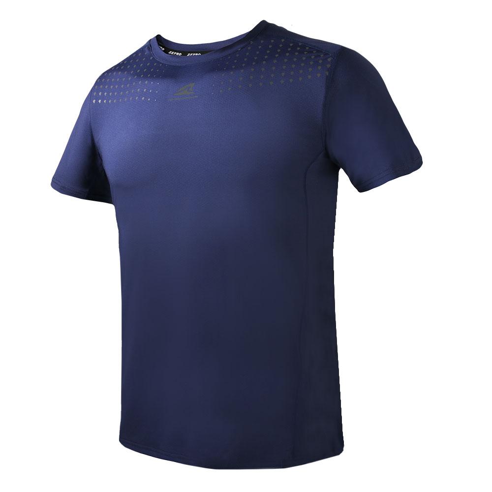 【ZEPRO】男子幾何運動短袖上衣-深藍
