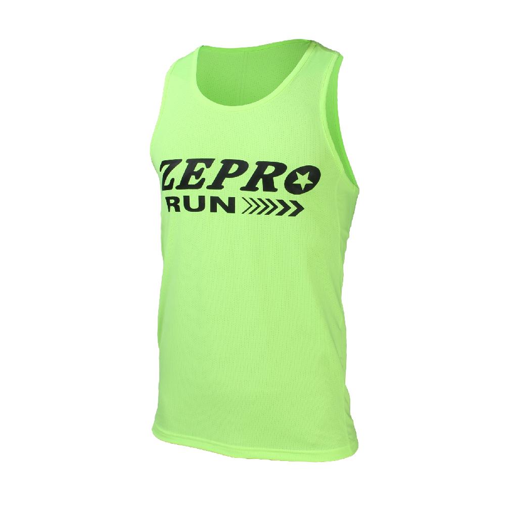 【ZEPRO】男子速乾排汗路跑背心-螢光綠
