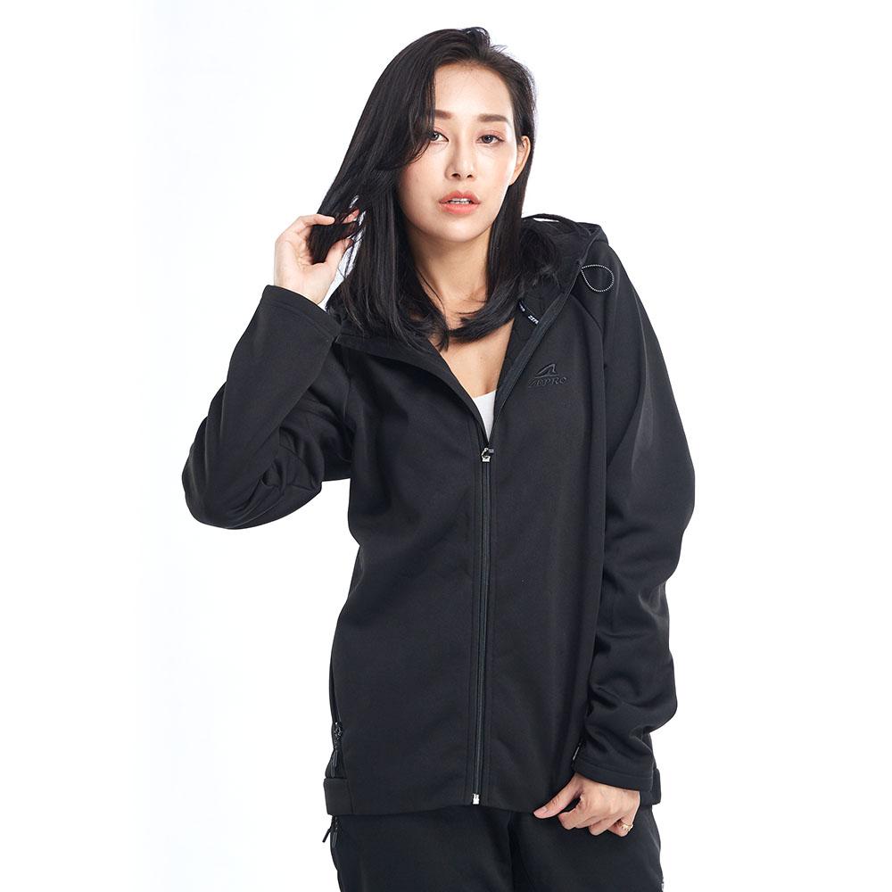 【ZEPRO】女子內襯六角刷毛休閒外套-黑