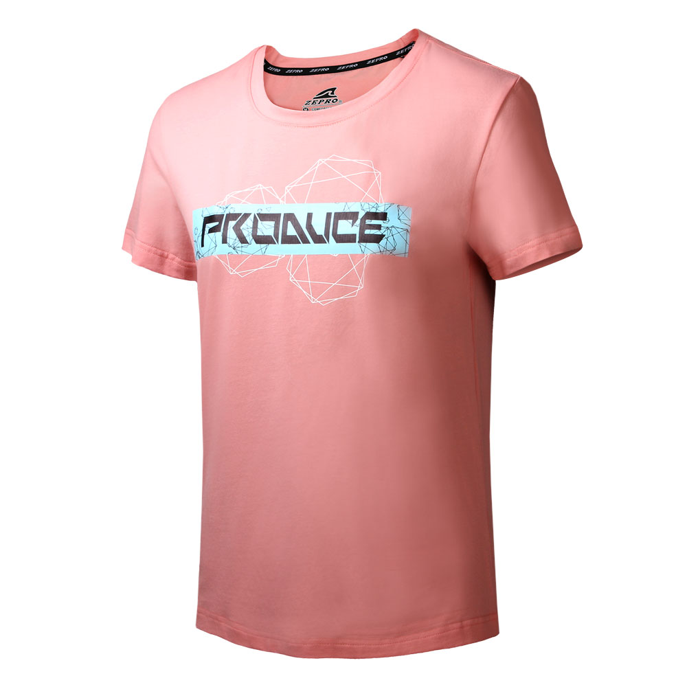 【ZEPRO】女子科技世代運動休閒短袖上衣-玫瑰桃